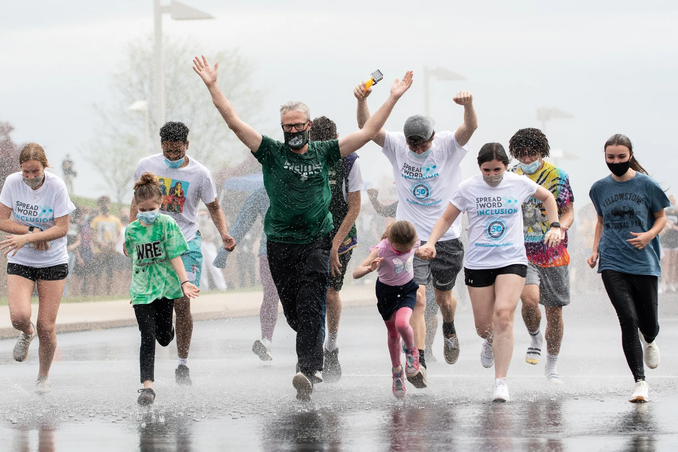 Dr. David Bolton, Pennridge School District superintendent, kicks off the April Showers event, a fundraiser supporting Special Olympics athletes and the school's unified sports teams, at Pennridge High School on Thursday, April 29, 2021.