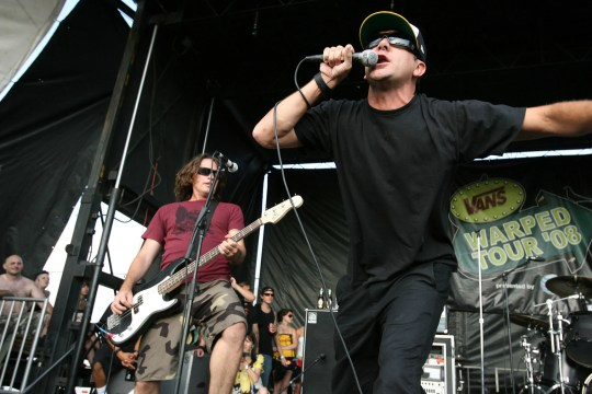 Pennywise performs at the Vans Warped Tour on July 25, 2008, in Camden, New Jersey.
