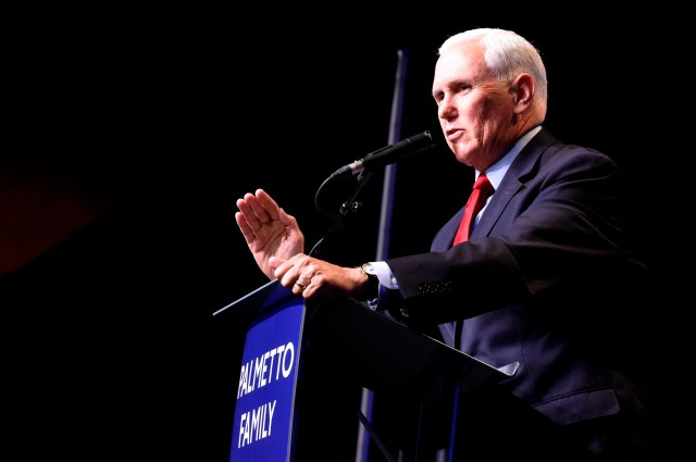 In his first public speech since leaving office, former Vice President Mike Pence speaks at a dinner hosted by Palmetto Family on Thursday, April 29, 2021, in Columbia, S.C. (AP Photo/Meg Kinnard)