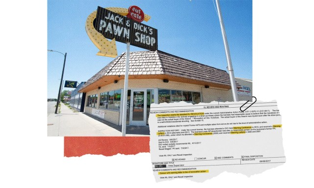 Jack & Dick's Pawn Shop in Junction City, Kansas, received multiple written and in-person warnings from the Bureau of Alcohol, Tobacco, Firearms and Explosives between 2013 and 2017.