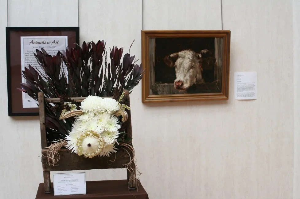 From 2009: William Henry Howe, Head of a Cow. Interpreted by Town & Country Garden Club: Beverly Abeles, Susanne Kass, Mary Helen Strauch