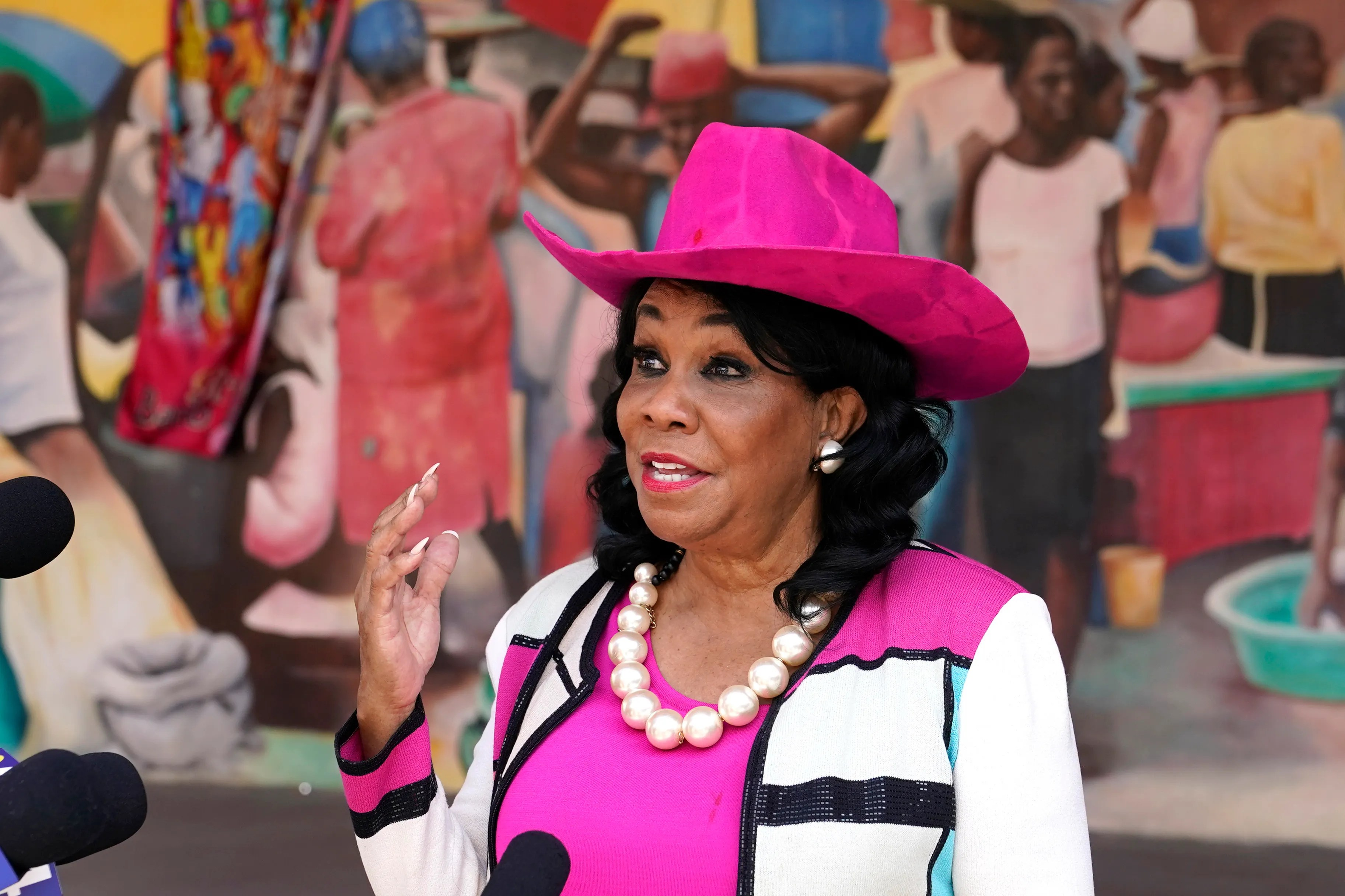 Congresswoman Frederica Wilson speaks outside the Little Haiti Cultural Center in Miami, May 25, 2021, shortly after the Biden administration agreed to protect Haitian refugees living in the United States from deportation.