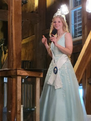 Abby Shuck gives her farewell speech at the Dairy Princess Coronation.