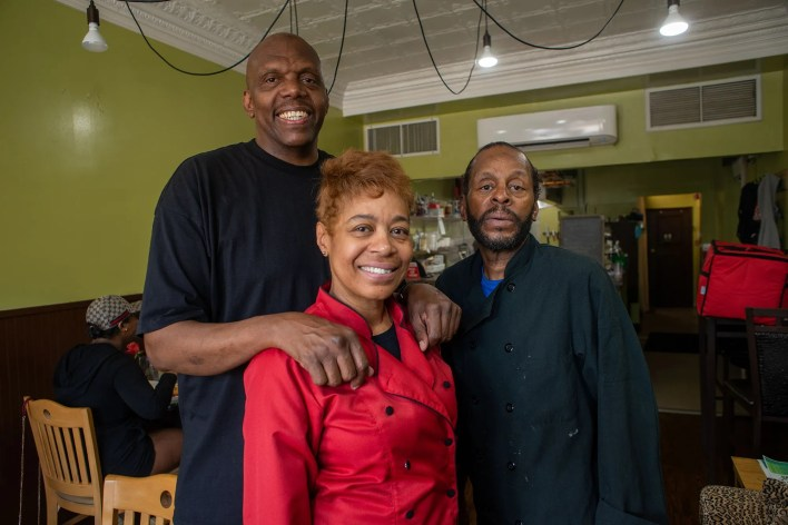 From left, John Taylor, Stephanie Taylor and Chef Dawud Lee pose for a photo at Welcome Home Cafe June 9, 2021 in Jenkintown, Pa.
