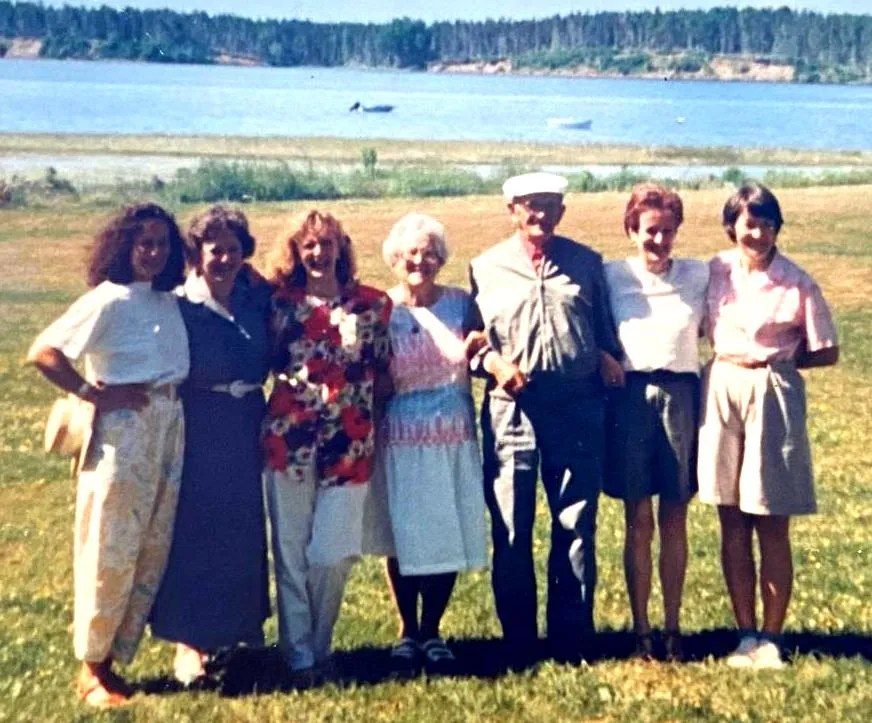 Jean with his parents and sisters, left to right - Flora Buchan, Frances Buchan, Helen Corbin, Helen Buchan, Alexander Buchan, Jean and Elizabeth Ferguson at a family reunion in Prince Edward Island in 1991.