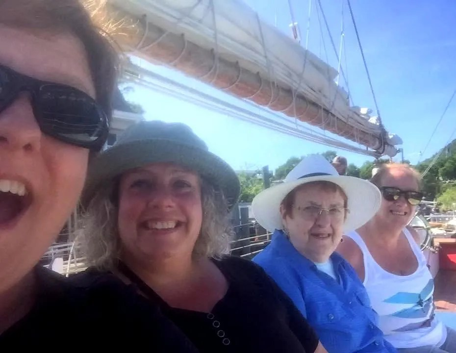 From left to right, Christine Morrisey, her sister Janet, her mother Jean Morrisey and her sister Karen about to board the Appledore II from Camden, Maine in 2009.