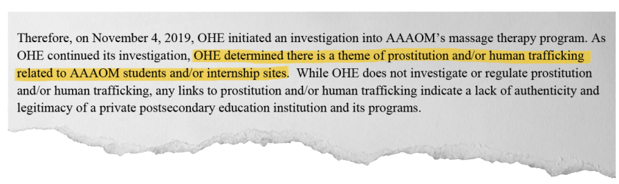 """At the American Academy of Acupuncture and Oriental Medicine, Minnesota regulators said they found """"a topic of prostitution and / or human trafficking."""""""