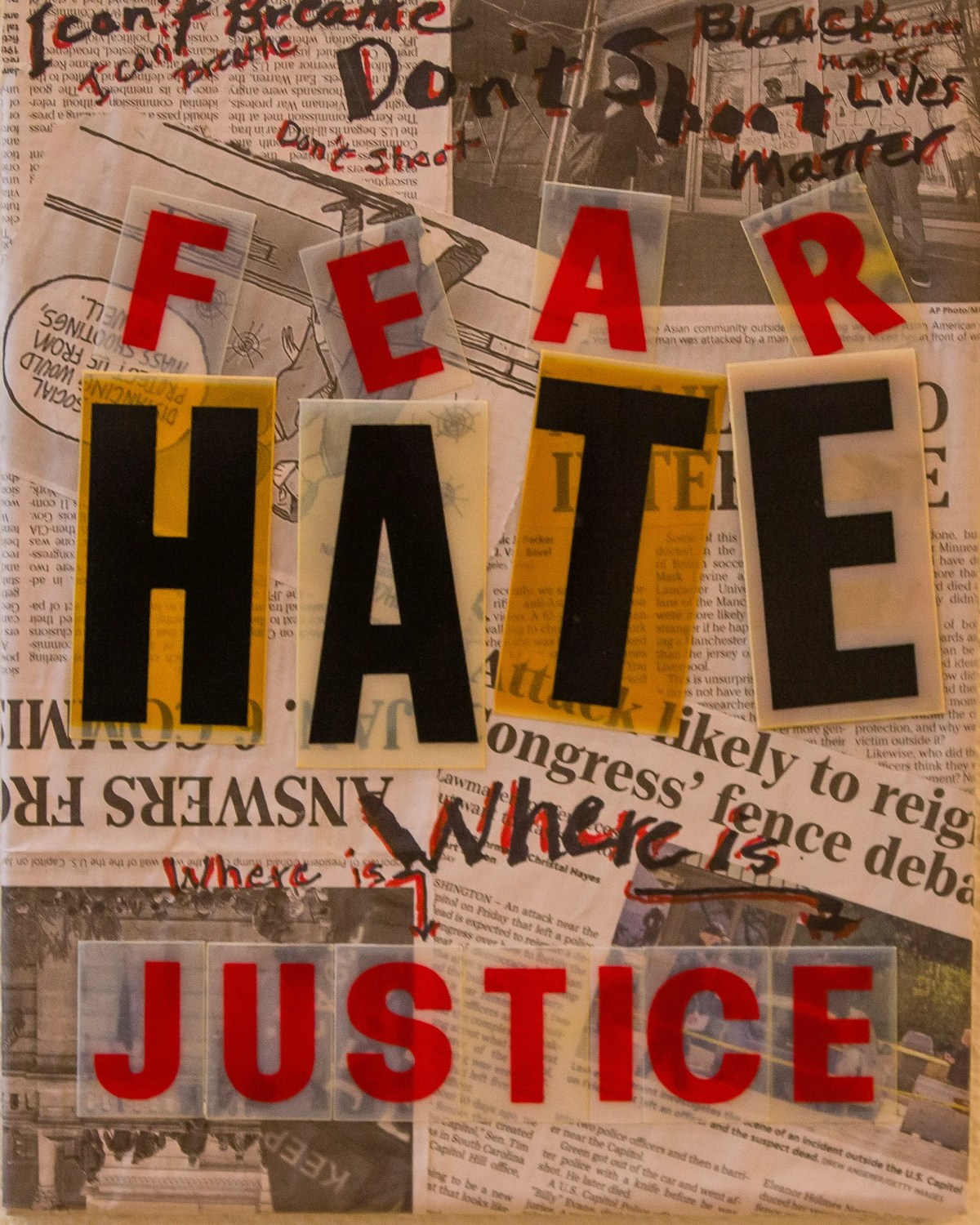 """This untitled collage by Anna F. Bowers uses newspaper clippings to ask, """"Where is justice?"""" It's part of the """"Art and Social Justice Exhibition"""" at the Colfax Art Gallery in the Colfax Cultural Center in South Bend."""