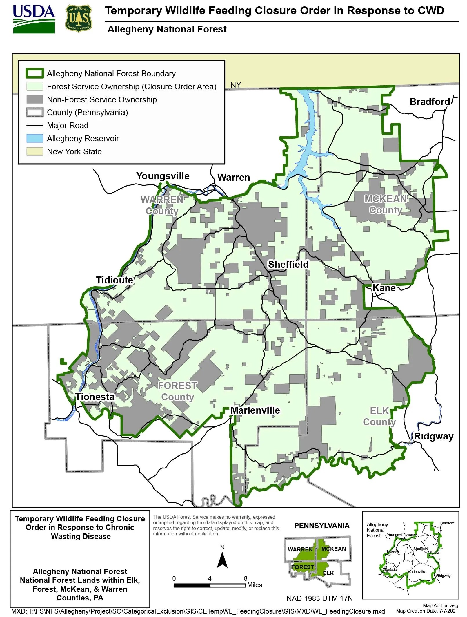 This map shows a proposed area to temporarily ban feeding wildlife in the Allegheny National Forest in Warren, McKean, Forest and Elk counties.