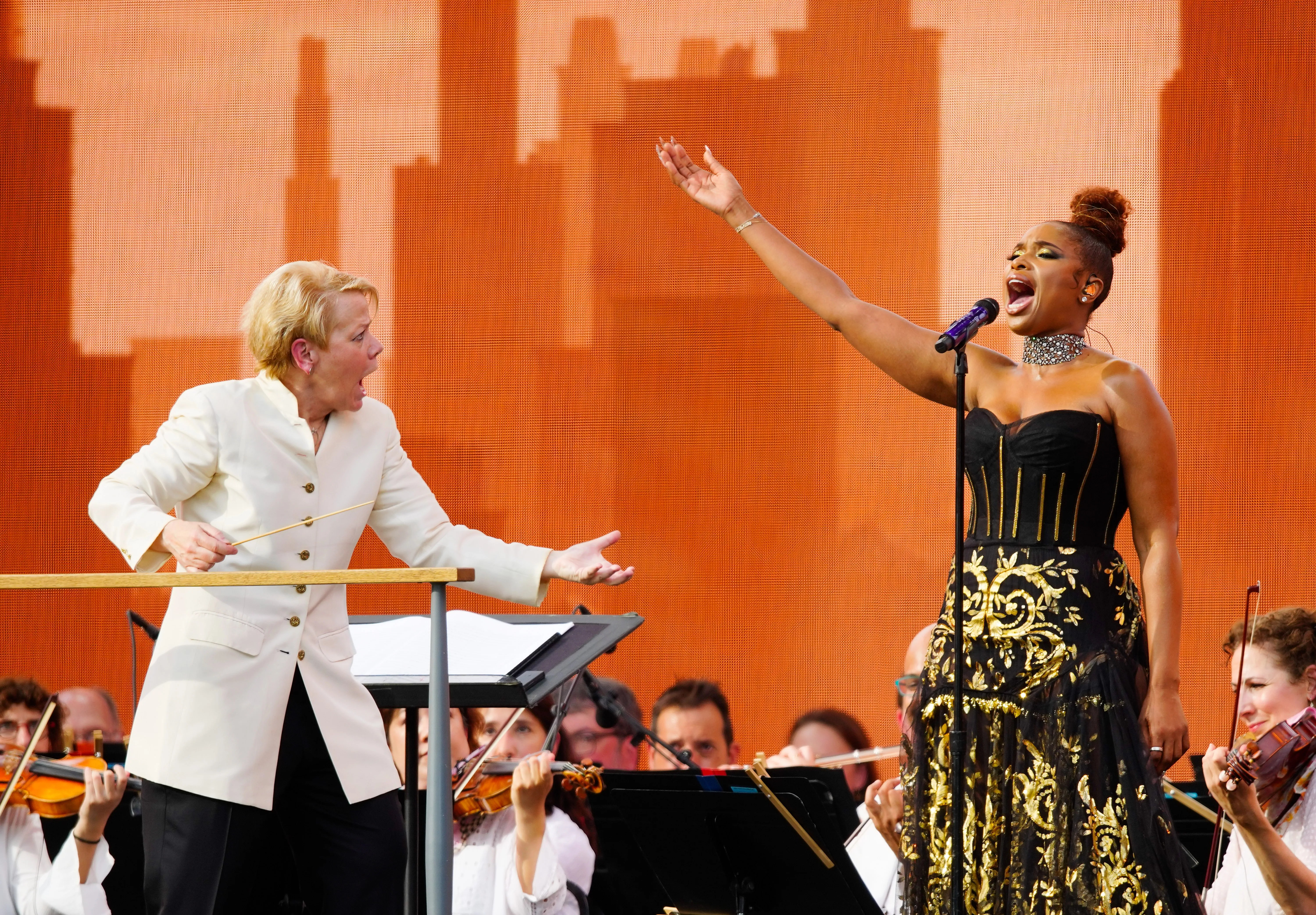 Jennifer Hudson performs with the New York Philharmonic (conducted by Marin Alsop) during the We Love NYC: The Homecoming Concert at Central Park, Great Lawn on Aug. 21, 2021 in New York City.