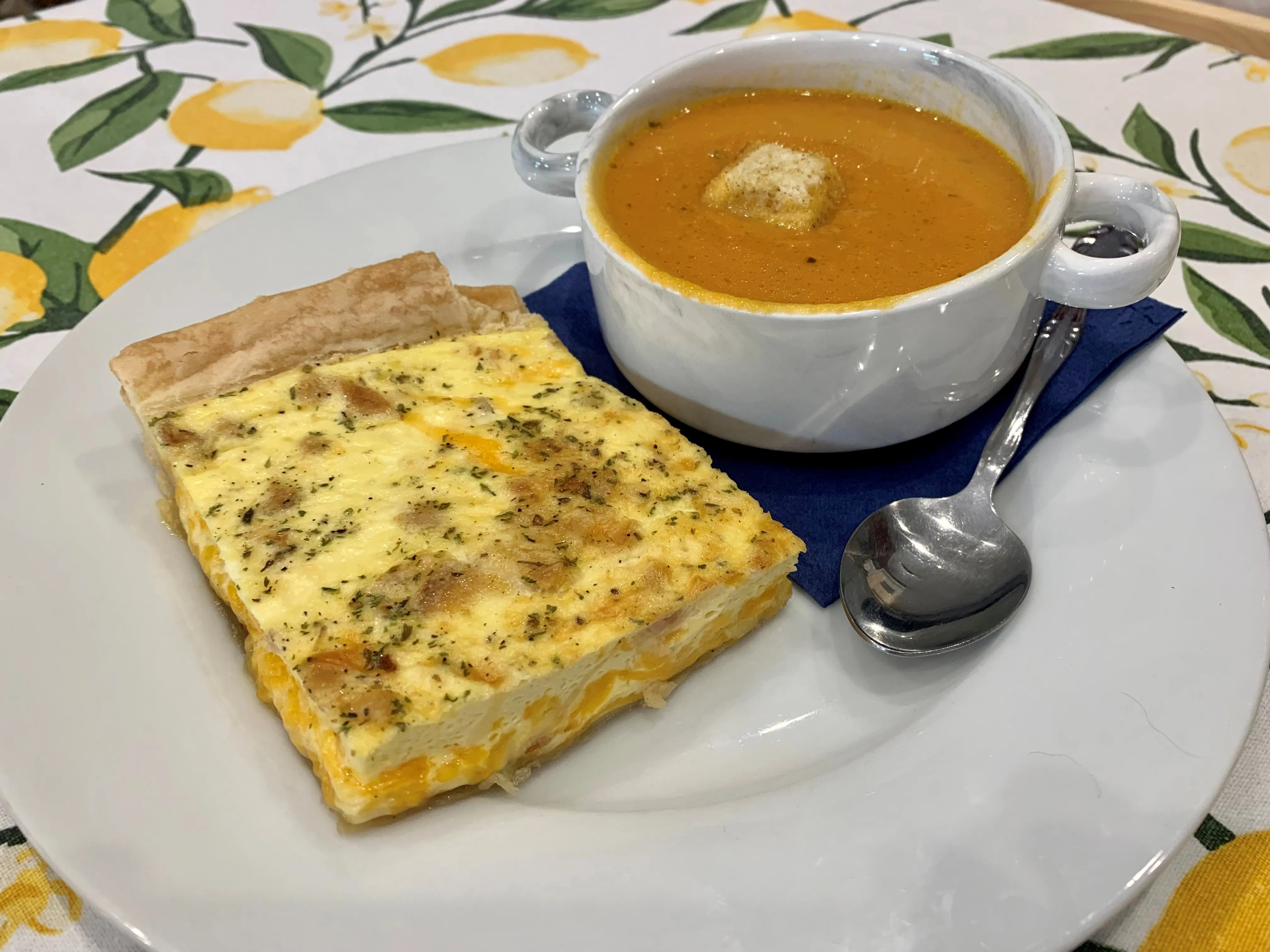 On the menu at The Curious Kitchen, 327 E. State St., Murfreesboro: Quiche and carrot tarragon soup.