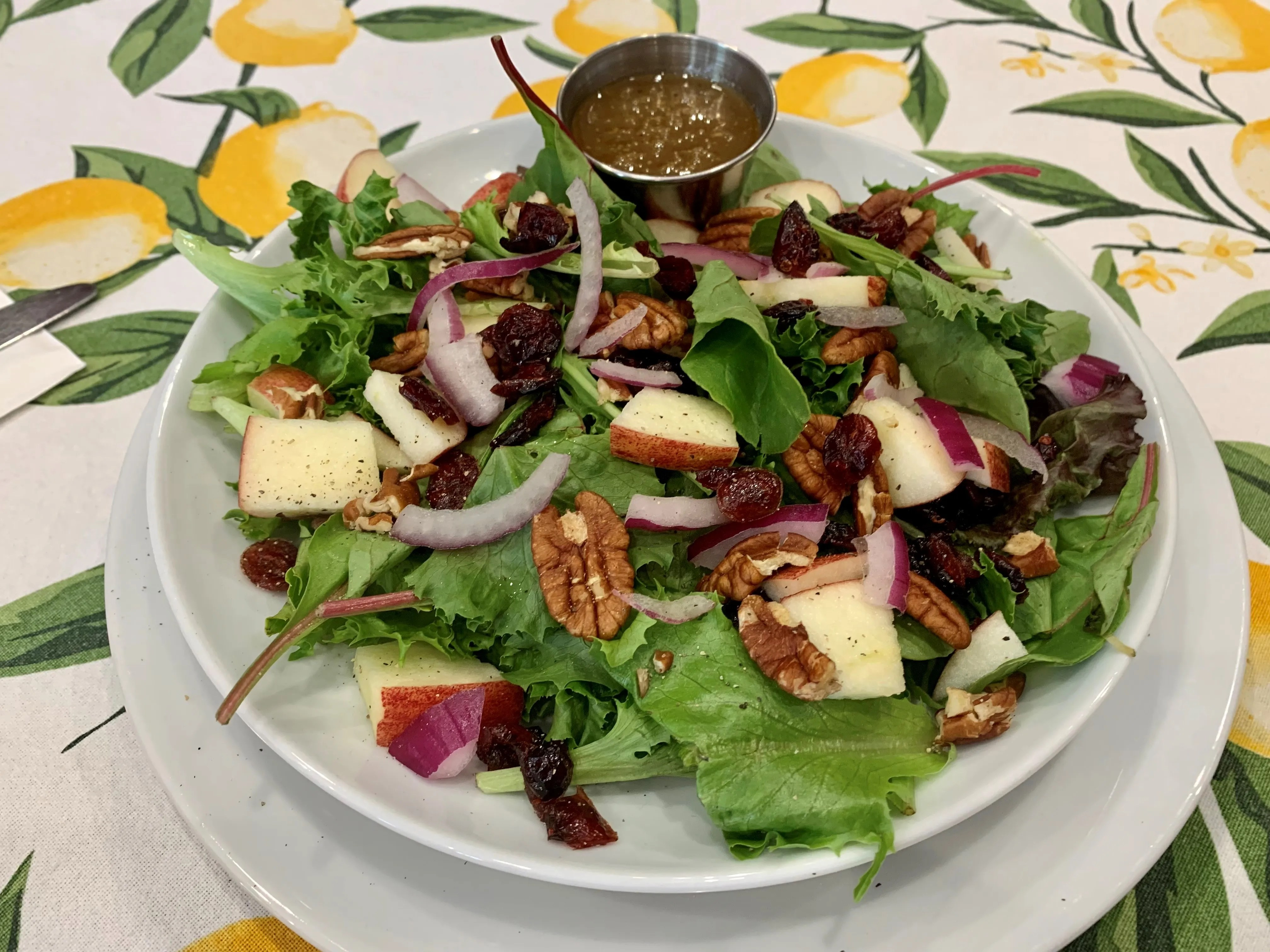 On the menu at The Curious Kitchen, 327 E. State St., Murfreesboro: the Rainbow salad has mixed greens topped with red onions, chopped apples, dried cranberries, pecans and feta cheese, served with house-made vinaigrette.