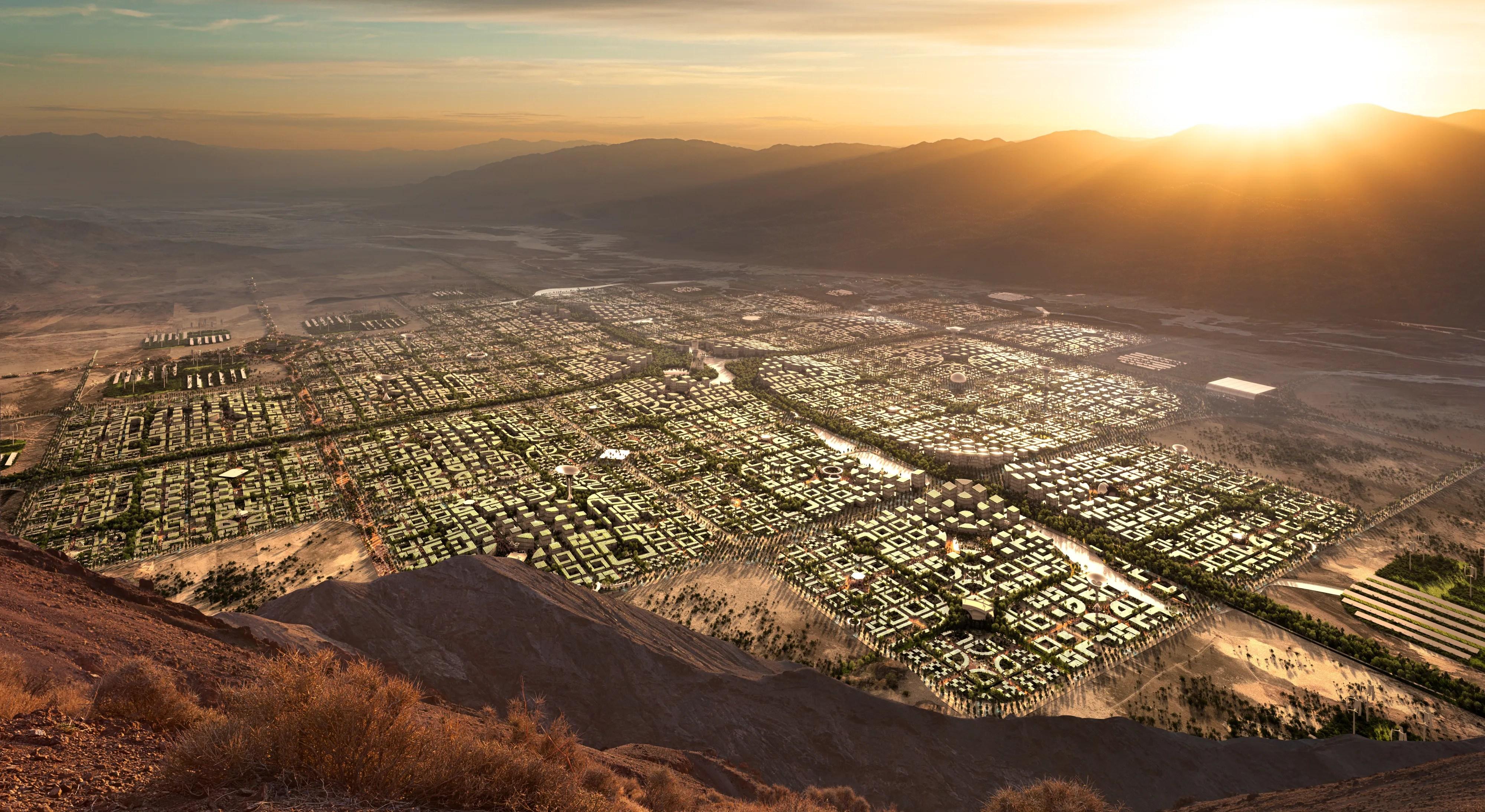 """Një pamje ajrore e Telosa, një metropol i planifikuar prej 400 miliardë dollarësh me skedën """"qyteti i ri në Amerikë"""", që do të ndërtohet në shkretëtirë nëse financohet siç duhet."""