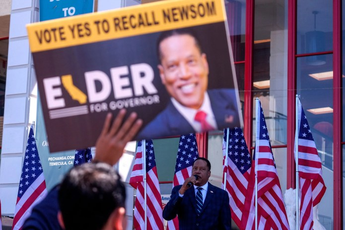 Republican gubernatorial candidate Larry Elder speaks to supporters during an Asian Rally for Yes Recall at the Asian Garden Mall in Little Saigon, Westminster, California, on September 4, 2021.