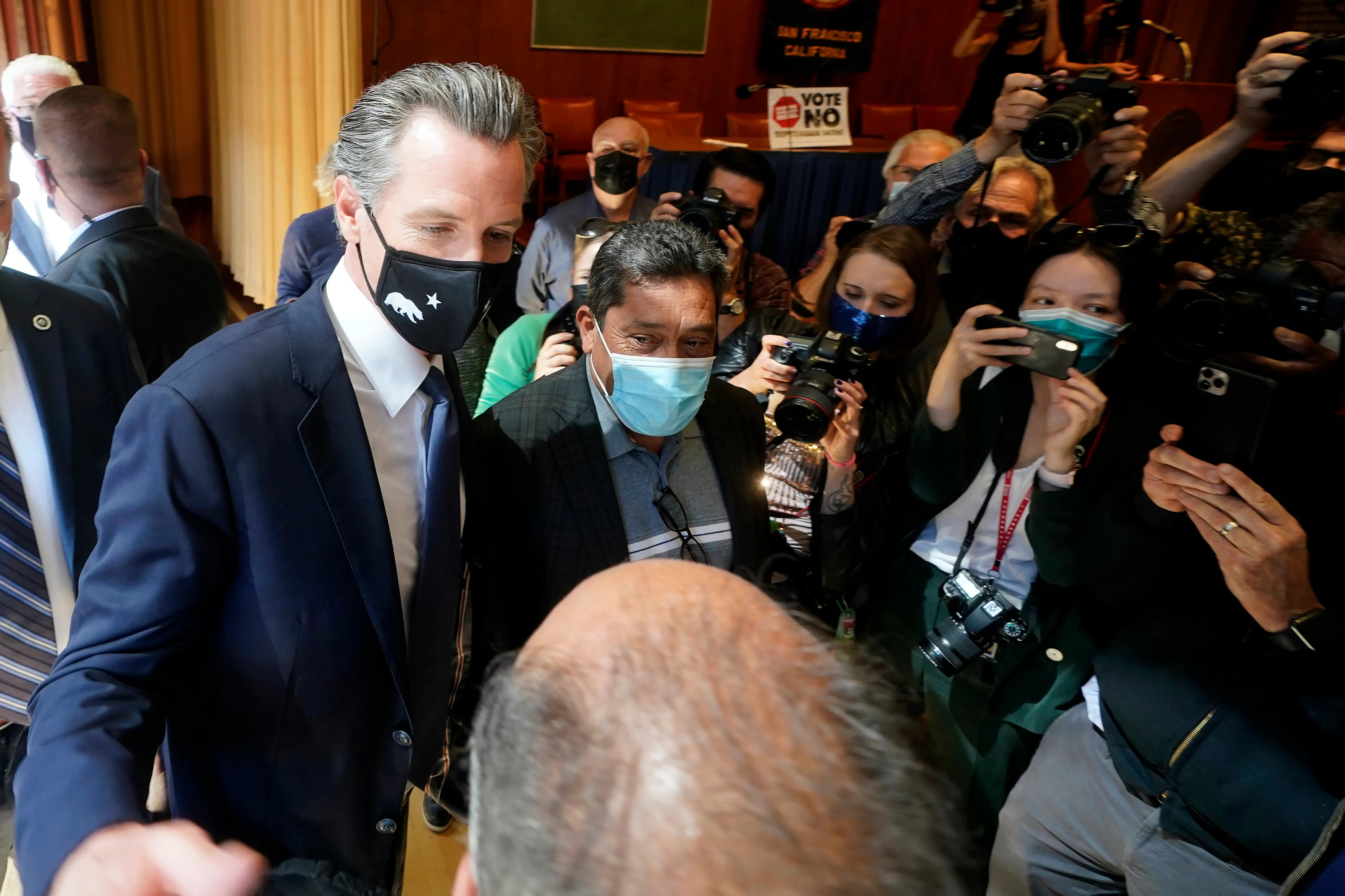 Governor Gavin Newsom greets supporters after speaking to volunteers in San Francisco on Tuesday.