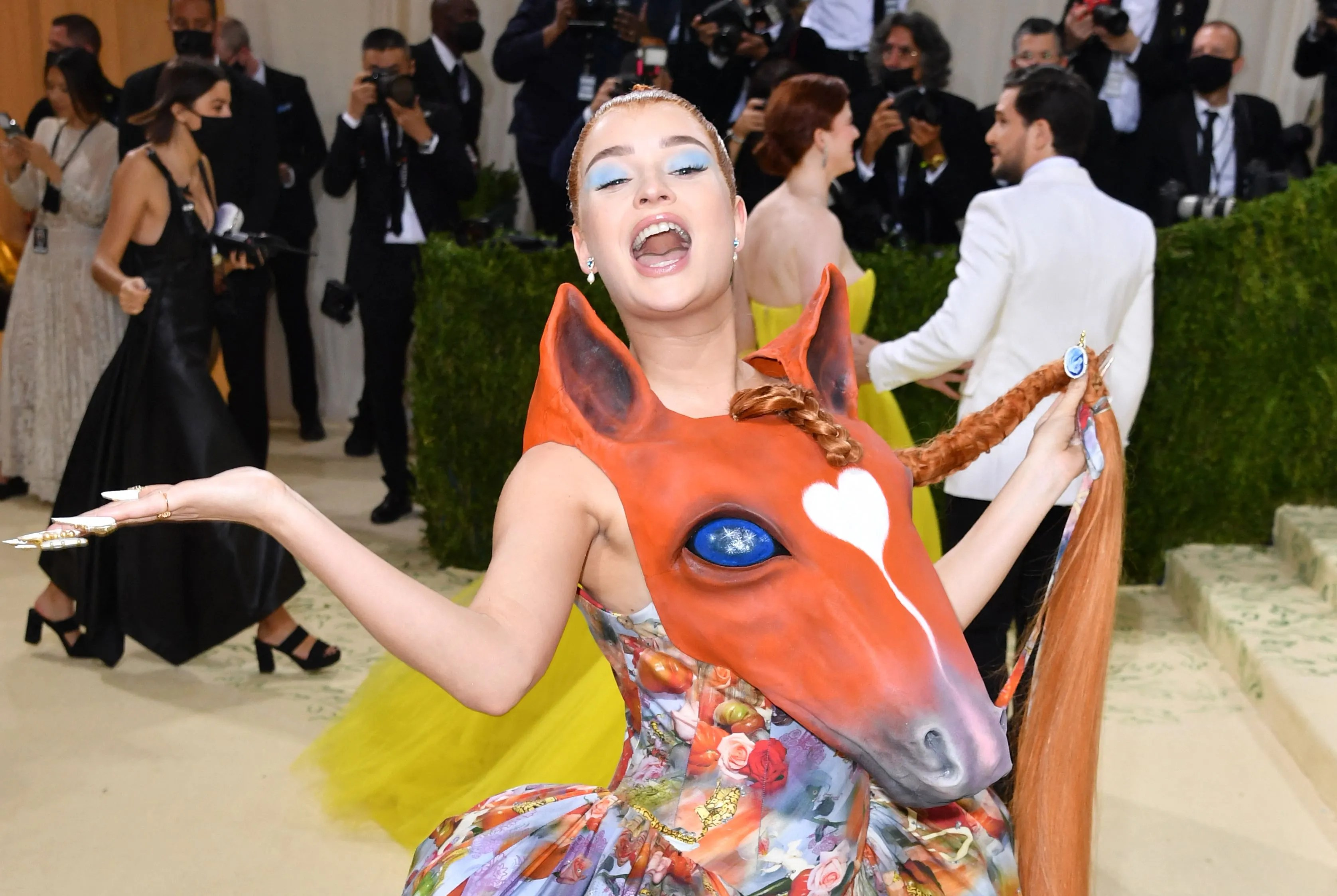German singer Kim Petras arrives for the 2021 Met Gala at the Metropolitan Museum of Art on September 13, 2021 in New York.