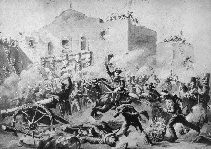 An illustration of the Battle of the Alamo in San Antonio on March 6, 1836.