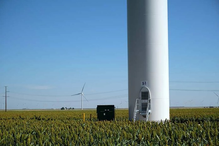 The base of a tower at the Cimarron Bend III wind farm south of Dodge City, Kansas.