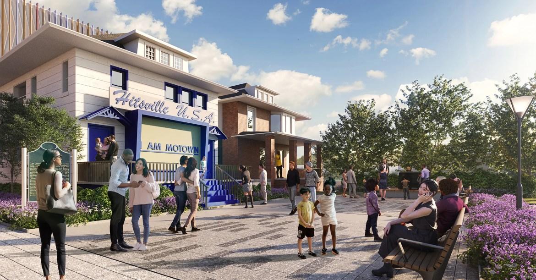 Un rendu de la Motown Museum Plaza au siège d'origine de Hitsville à Detroit, dont l'achèvement est prévu pour l'été 2022.
