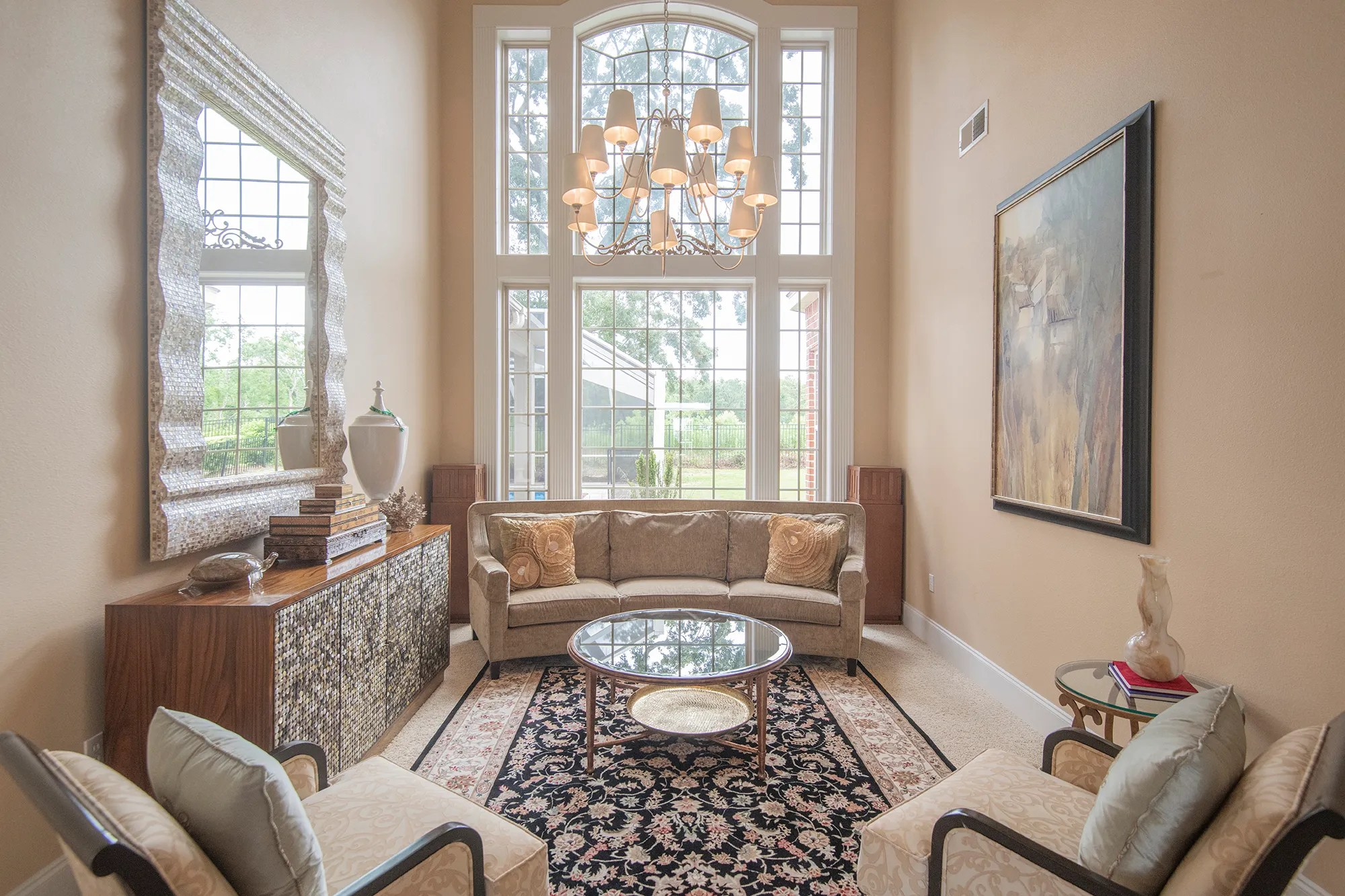 A formal living room is perfect for conversation.