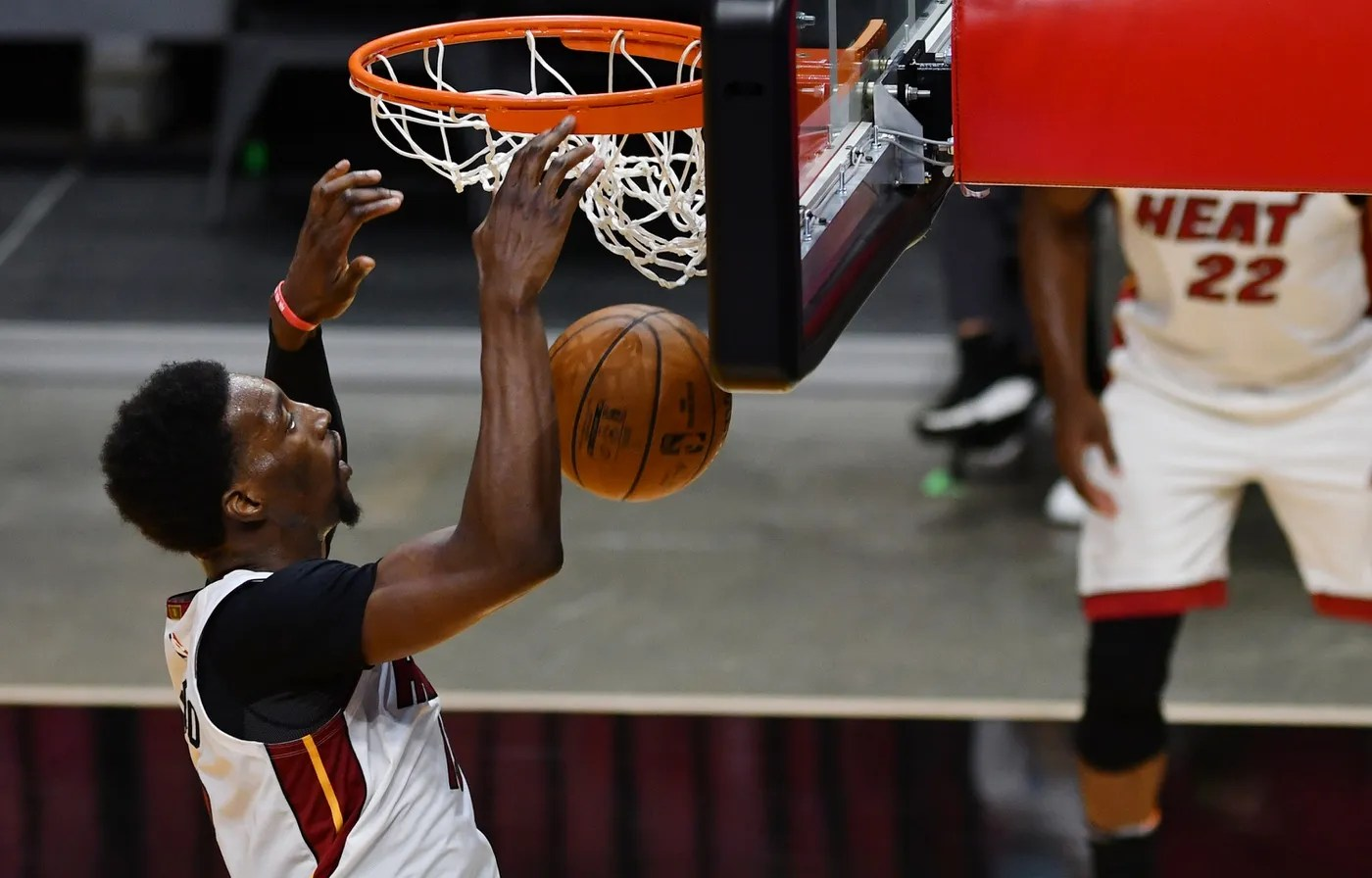 Apr 3, 2021; Miami, Florida, USA; Miami Heat center Bam Adebayo (13) dunks during the third quarter of a game against the Cleveland Cavaliers at American Airlines Arena. Mandatory Credit: Mary Holt-USA TODAY Sports