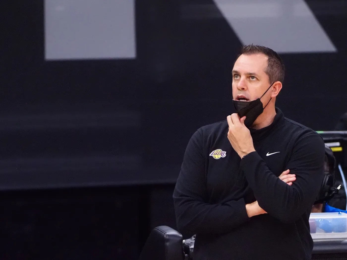 Apr 2, 2021; Sacramento, California, USA; Los Angeles Lakers head coach Frank Vogel on the sideline during the fourth quarter against the Sacramento Kings at Golden 1 Center.