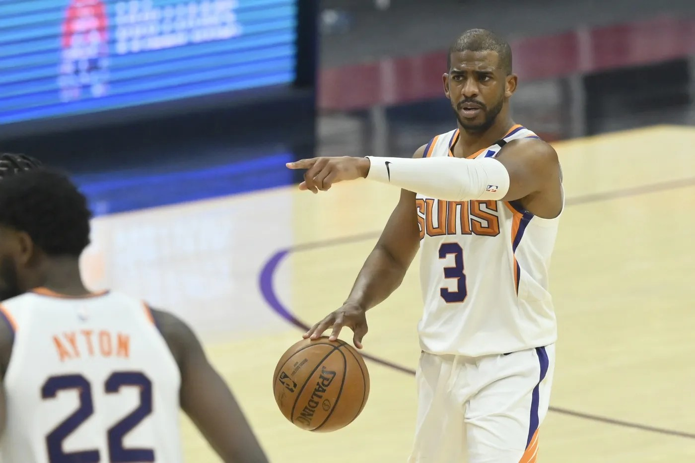 May 4, 2021; Cleveland, Ohio, USA; Phoenix Suns guard Chris Paul (3) calls a play in the second quarter against the Cleveland Cavaliers at Rocket Mortgage FieldHouse. Mandatory Credit: David Richard-USA TODAY Sports