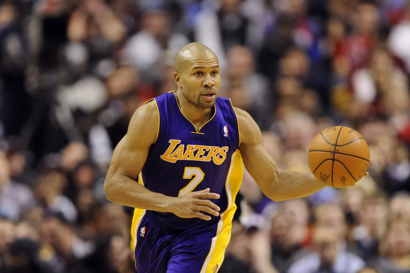 Feb 06, 2012; Philadelphia, PA, USA; Los Angeles Lakers guard Derek Fisher (2) brings the ball up court during the second quarter against the Philadelphia 76ers at the Wells Fargo Center. The Sixers defeated the Lakers 95-90. Mandatory Credit: Howard Smith-USA TODAY Sports