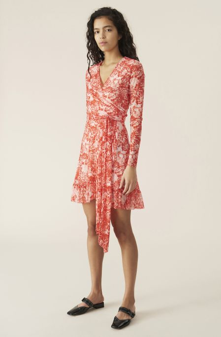 Printed Mesh Wrap Dress, Mesh, in colour Lollipop - 1 - GANNI