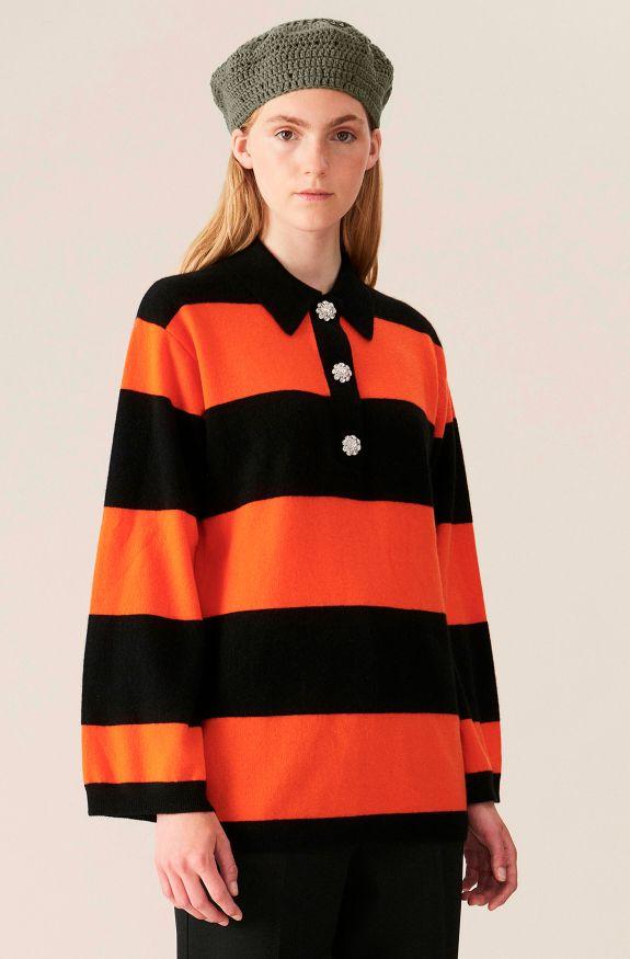 Cashmere Knit Blouse - Block Colour, Cashmere, in colour Multicolour - 1 - GANNI