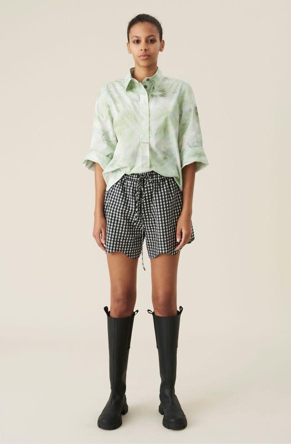 Checkered Seersucker Drawstring Shorts, Cotton, in colour Black - 1 - GANNI