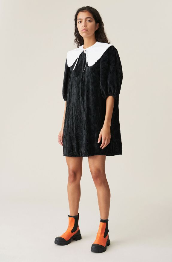 Pleated Satin Wide Dress, Polyester, in colour Black - 1 - GANNI