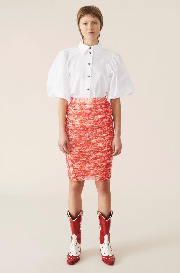 Printed Mesh Skirt, Mesh, in colour Lollipop - 1 - GANNI