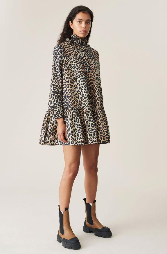 Printed Cotton Poplin Oversized Dress, Cotton, in colour Leopard - 1 - GANNI
