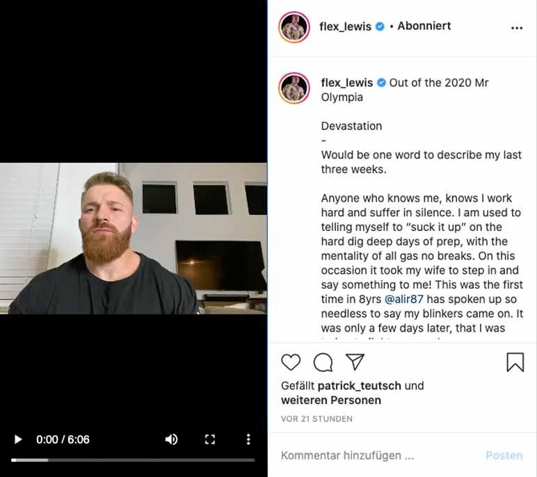 Screenshot: Flex Lewis wird eigener Aussage zufolge nicht am Mr. Olympia 2020 mitmachen
