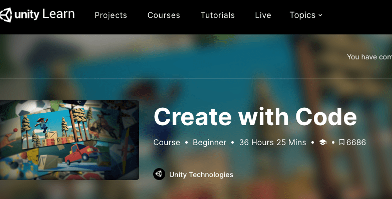 Unity Learn (Create with Code)