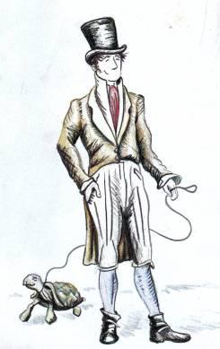 Flaneur mit Schildkräte an der Leine