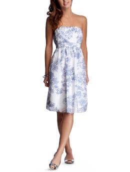 Women: Strapless empire dress - blue combo