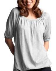 Women: Elbow-sleeved blouson top - heather gray