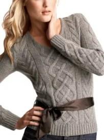 Women: Ribbon-sash cable V-neck - rock heather