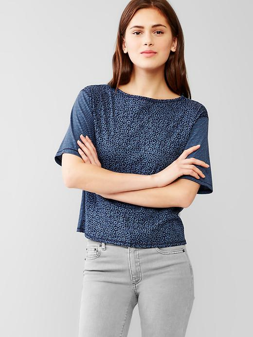 Gap Women Mix Print Crop Tee Size M - Mini blue floral