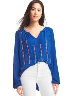 Gap Women Flowy Embroidered Crepe Top Size S - Admiral blue