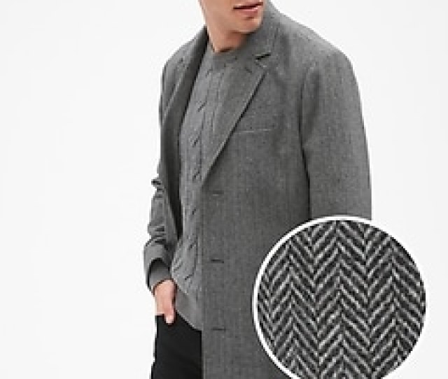 Wool Blend Herringbone Top Coat