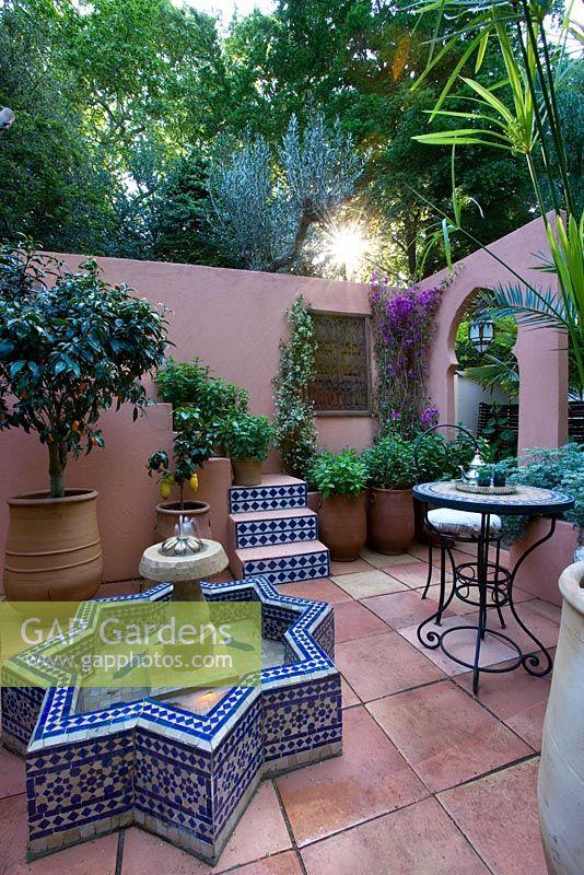 GAP Gardens Moroccan Style Mediterranean Courtyard With