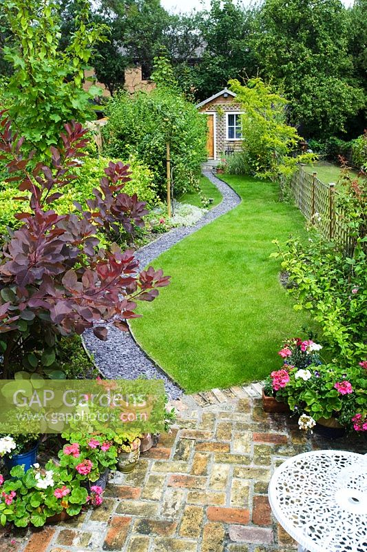 GAP Gardens - Elevated view of long, narrow town garden ... on Long Narrow Backyard Design Ideas id=51309