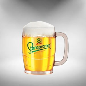 Staropramen Pint Tankard Green Logo Beer Glass