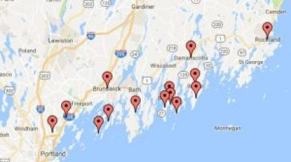Boothbay, Boothbay Harbor, Bristol, Brunswick, Damariscotta, Falmouth, Harpswell, New Harbor, Ocean Point, Phippsburg, Rockland, South Harpswell, Southport, Yarmouth