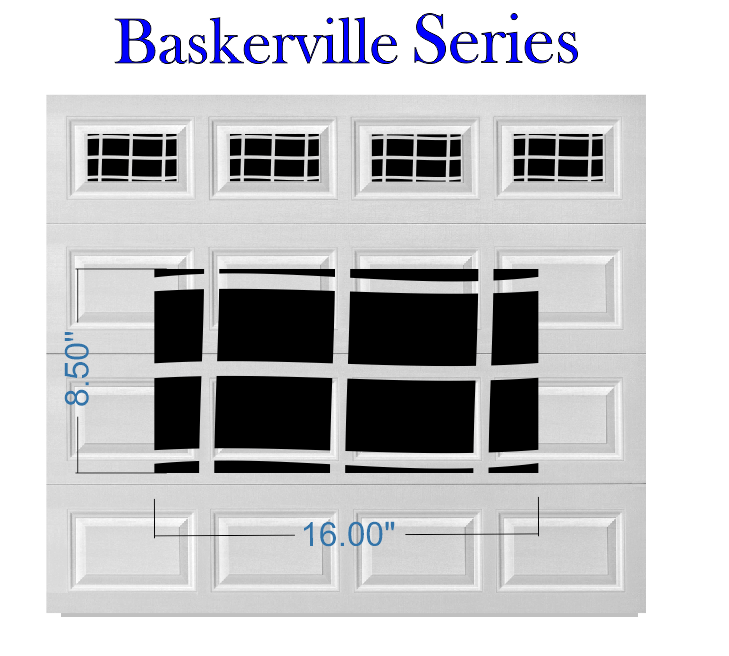 Garage Door Vinyl Window Decals: Baskerville Series Faux Window Garage Door Vinyl Decals