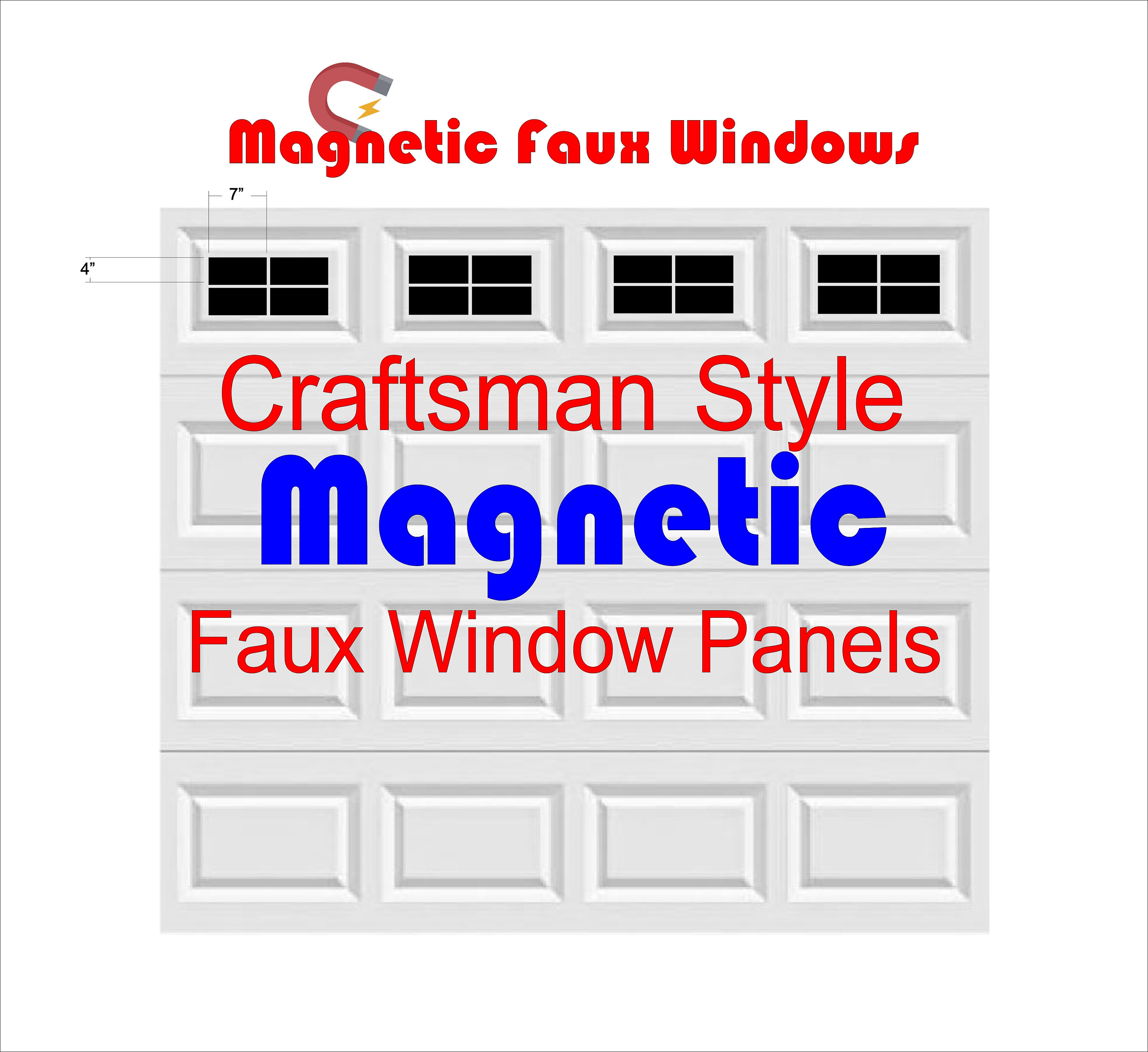 Garage Door Vinyl Window Decals: Magnetic Faux Garage Door Window Panels