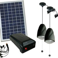 MicroSolar - Lithium Battery - 5W Panel Solar Home System Kit - including Cell Phone Charger - 2 LED Lights